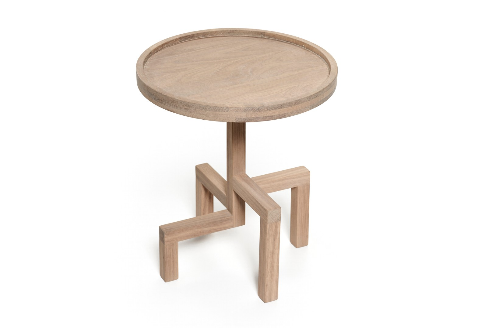 houten ronde bijzettafel